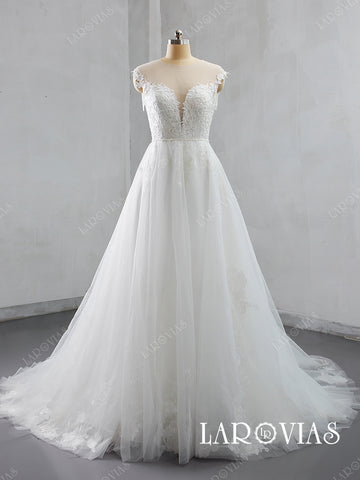 2019 A Line Tulle and Lace Wedding Dress Chapel Train Illustion Back LR047 - LaRovias