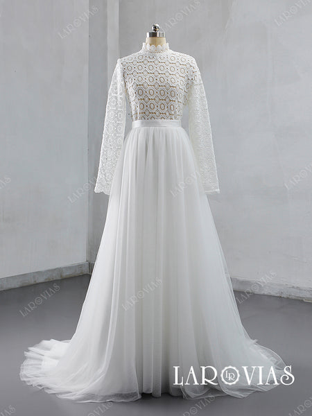 Lace and Tulle Wedding Dress High Neck Long Sleeves LR048 - LaRovias