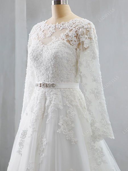 Lace and Tulle Wedding Dress Long Sleeves Corset Back LR049 - LaRovias