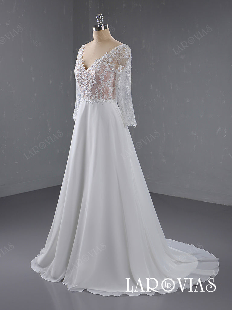 Lace and Chiffon Wedding Dress Bridal Gown with Long Sleeves LR054 - LaRovias