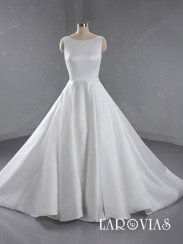 A Line Satin Wedding Dress Bridal Gown Beaded Open Back LR055 - LaRovias