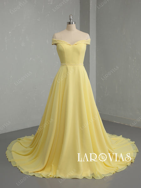 Off the Shoulder Yellow Prom Dresses Wedding Party Dresses LPD765 - LaRovias