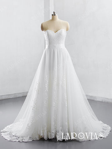 2019 Style A Line Sweetheart Neckline Lace and Tulle Wedding Dress LR003 - LaRovias