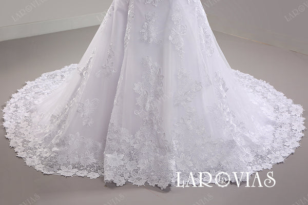 Mermaid Lace Wedding Dress Button Back LR091 - LaRovias
