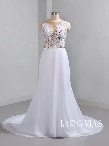 Lace and Chiffon Mermaid Wedding Dress LR093 - LaRovias