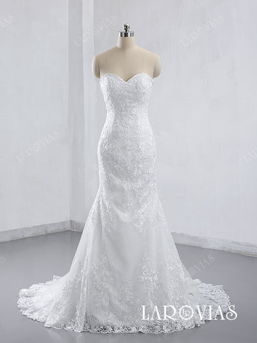 2019 Style Mermaid Lace Wedding Dress Bridal Gown Sweetheart Neckline LR006 - LaRovias