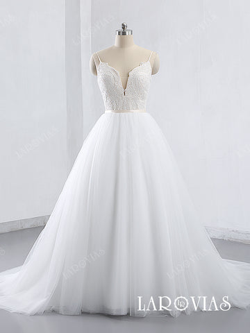 2019 Style A Line Lace and Tulle Wedding Dress with Spaghetti Straps LR007 - LaRovias