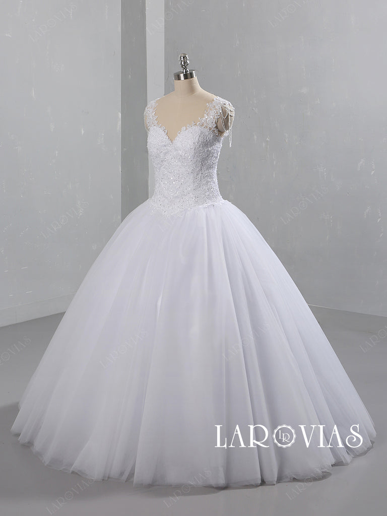 Lace and Tulle Ball Gown Wedding Dress LR094 - LaRovias