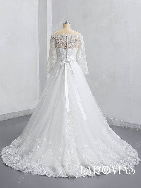 2019 New Style Lace and Tulle Wedding Dress Bridal Gown with Long Sleeves LR019 - LaRovias