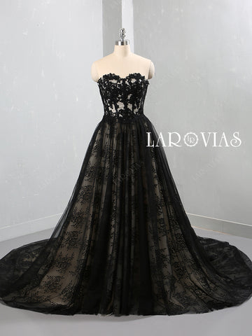 Black Tulle and Lace Wedding Dress LR096 - LaRovias
