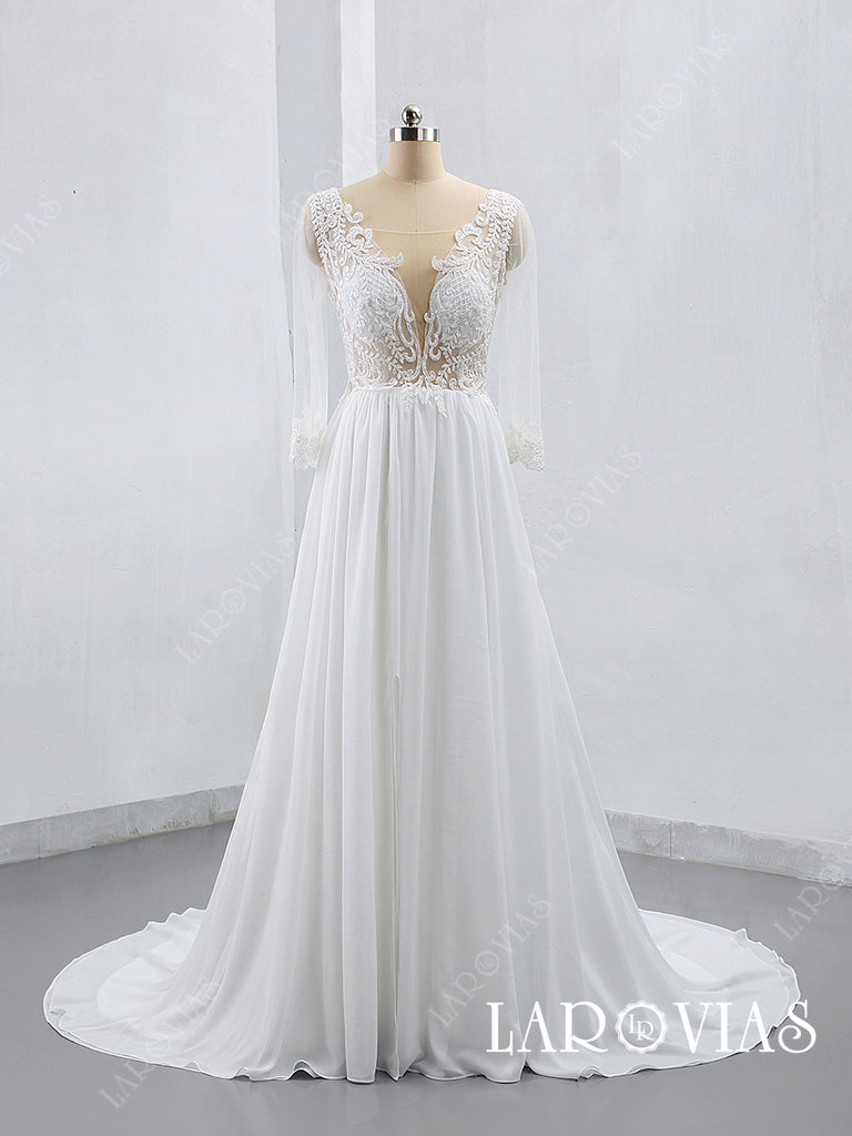2019 New Style Lace and Chiffon Wedding Dress Bridal Gown with Long Sleeves LR020 - LaRovias