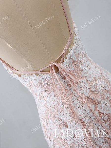 2019 New Arrival Lace Mermaid Wedding Dress with Spaghetti Straps LR031 - LaRovias