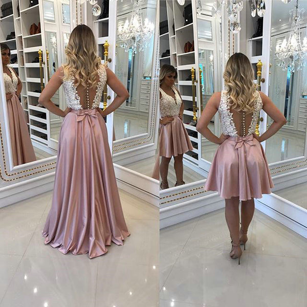 Lace Prom Dresses Wedding Party Dresses Detachable Skirt LPD751 - LaRovias