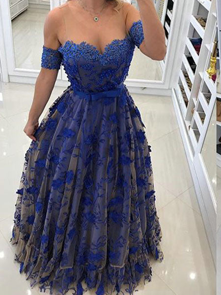 Royal Blue Lace Prom Dresses Wedding Party Dresses LPD752 - LaRovias