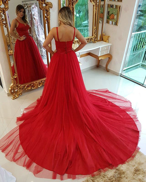 Red Tulle Prom Dresses Wedding Party Dresses LPD758 - LaRovias