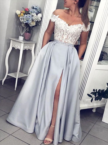 Satin and Lace Prom Dresses Wedding Party Dresses LPD797 - LaRovias