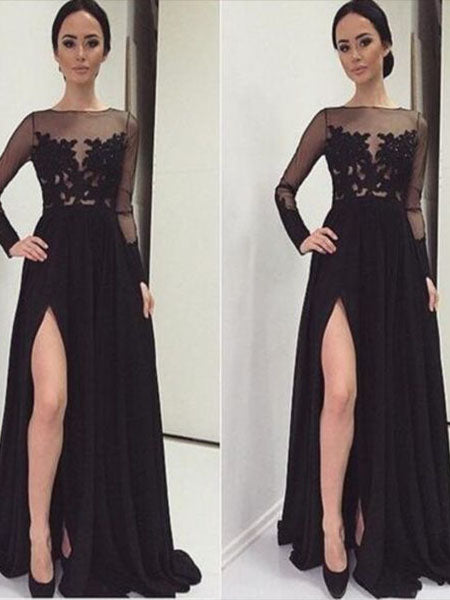 Black Prom Dresses Wedding Party Dresses with Long Sleeves LPD799 - LaRovias