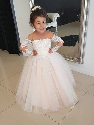 Tulle and Lace Flower Girl Dresses with Sleeves FG0057 - LaRovias