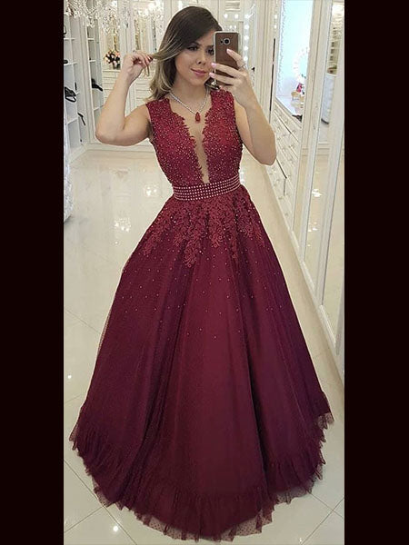 Lace and Tulle Prom Dresses Wedding Party Dresses with Sleeves LPD800 - LaRovias