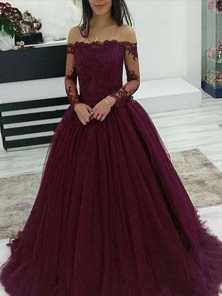 Lace and Tulle Prom Dresses Wedding Party Dresses with Long Sleeves LPD804 - LaRovias