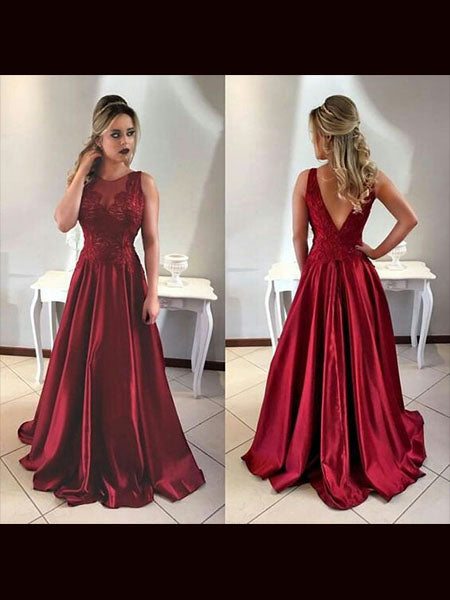 Satin Prom Dresses Wedding Party Dresses LPD807 - LaRovias