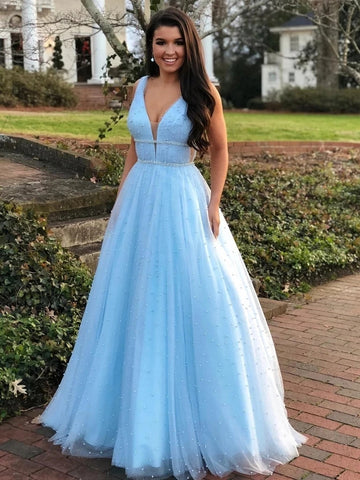 A Line Tulle Prom Dresses Wedding Party Dresses LPD938 - LaRovias