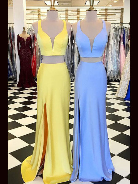 Two Pieces Prom Dresses Wedding Party Dresses with Slit LPD815 - LaRovias