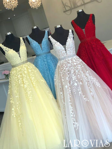 A Line Tulle and Lace Prom Dresses Wedding Party Dresses LPD818 - LaRovias