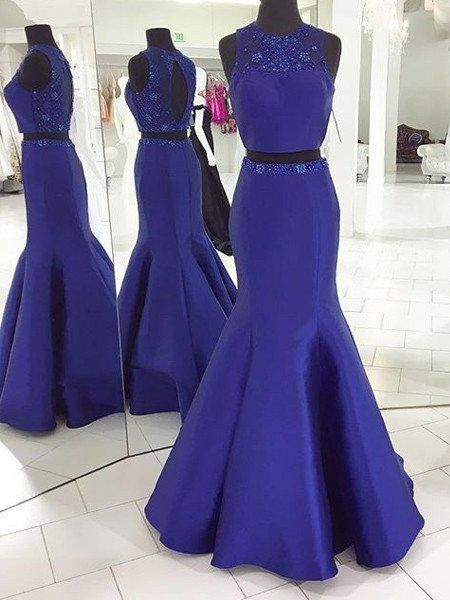 Two Pieces Beaded Prom Dresses Wedding Party Dresses LPD824 - LaRovias