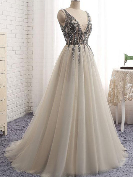 Beaded Tulle Prom Dresses Wedding Party Dresses LPD825 - LaRovias