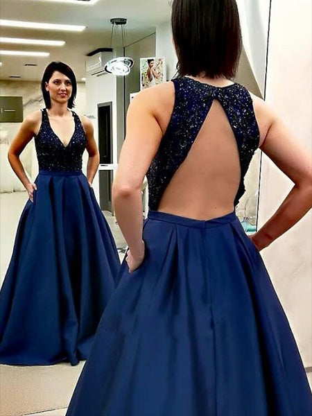 Beaded Satin Navy Blue Prom Dresses Wedding Party Dresses LPD838 - LaRovias