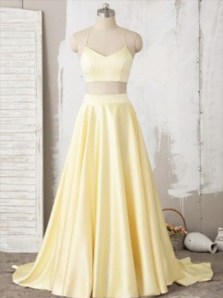 Two Pieces Satin Prom Dresses Wedding Party Dresses LPD851 - LaRovias