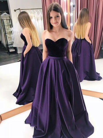 A Line Satin Prom Dresses Wedding Party Dresses LPD853 - LaRovias