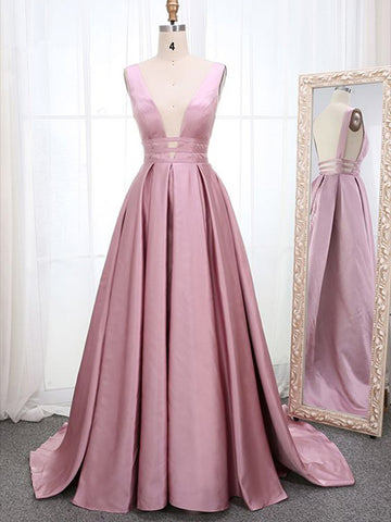 A Line Satin Prom Dresses Wedding Party Dresses LPD854 - LaRovias