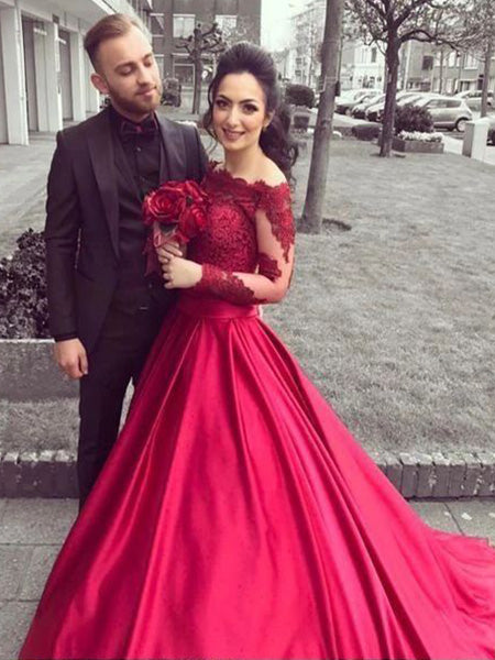 Lace and Satin Prom Dresses Wedding Party Dresses LPD871 - LaRovias