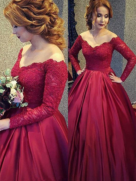 Lace and Satin Prom Dresses Wedding Party Dresses with Long Sleeves LPD875 - LaRovias