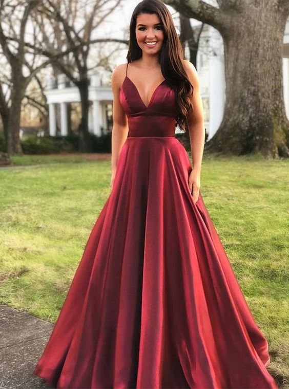A Line Burgundy Prom Dresses Wedding Party Dresses LPD890 - LaRovias