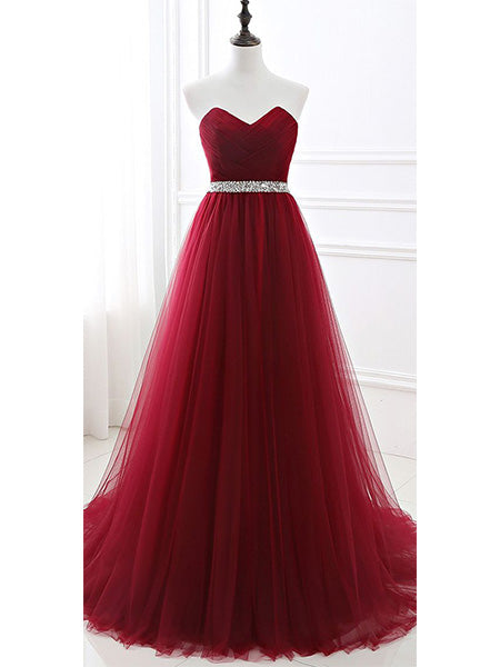 Burgundy Tulle Prom Dresses Wedding Party Dresses LPD892 - LaRovias