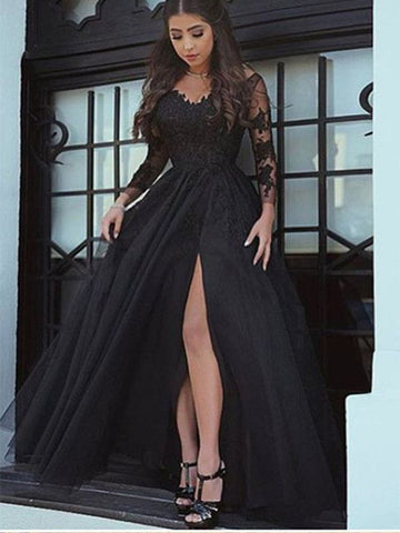Black Lace Prom Dresses Wedding Party Dresses with Long Sleeves LPD895 - LaRovias