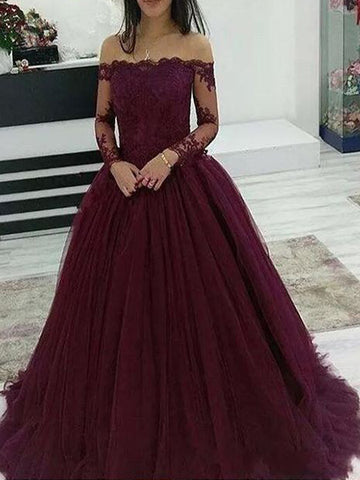 A Line Burgundy Lace Prom Dresses Wedding Party Dresses LPD896 - LaRovias