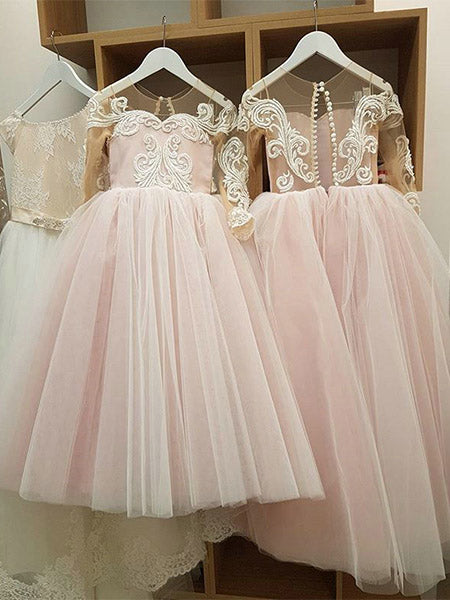 Tulle and Lace Flower Girl Dresses with Sleeves FG0058 - LaRovias