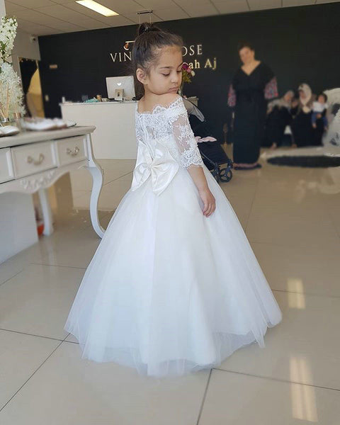 Tulle and Lace Flower Girl Dresses with Sleeves FG0059 - LaRovias