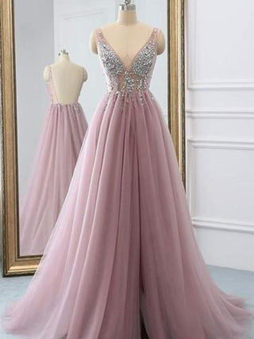 A Line Tulle Prom Dresses Graduation Party Dresses LPD902 - LaRovias