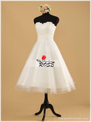 A Line Knee Length Lace Wedding Dress with Tulle Skirt Style WD017 - LaRovias