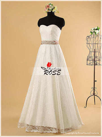 A Line Sweetheart Wedding Dresses with Luxury Beaded Waist Sash Style WD006 - LaRovias