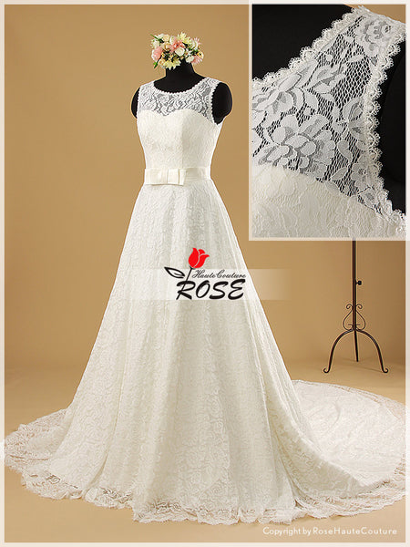A Line Transparent Lace Back Wedding Dress with Sweetheart Neckline and Waist Bowknot Style WD019 - LaRovias