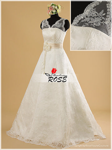 A Line V Neckline Lace Wedding Dresses with Satin Waistband and Hand-made Flowers Details Style WD013 - LaRovias