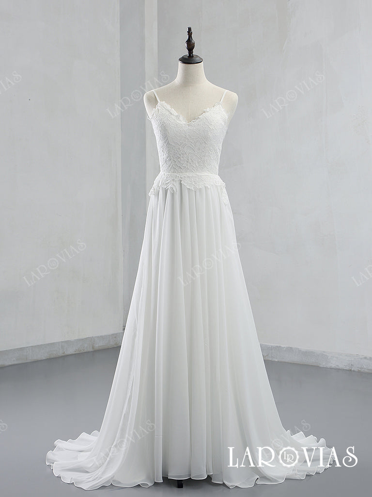 Lace and Chiffon Wedding Dress Bridal Gown Spaghetti Straps LR038 - LaRovias