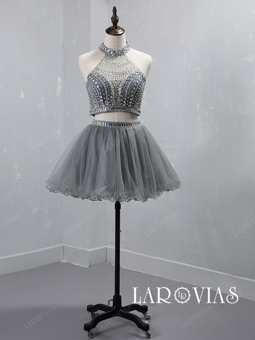Two Piece Halter Beaded Tulle Homecoming Dresses Party Dresses HC001 - LaRovias