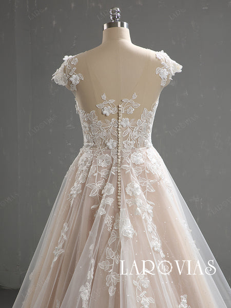 A Line Tulle and Lace Sparkling Wedding Dress Buttons Back LR081 - LaRovias